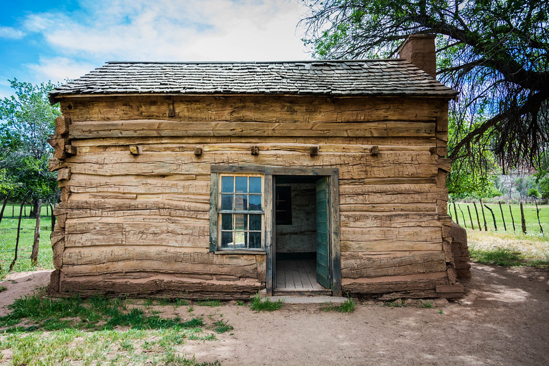 Early log cabin in the ghost town of Grafton, UT