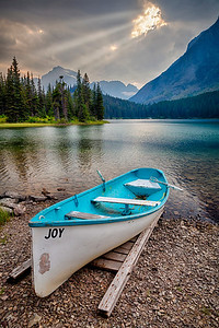 Joy On the opposite side of Swiftcurrent Lake from the Many Glacier Hotel.   The name of the boat sums it all up.