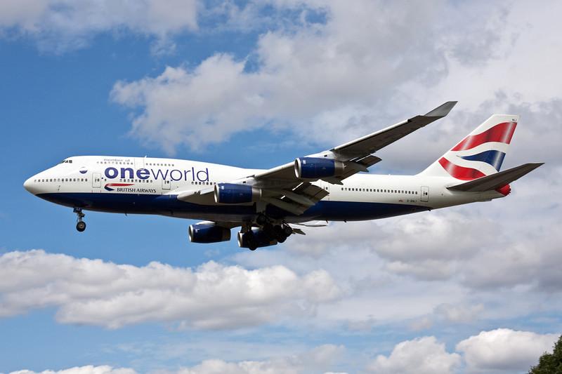 """G-BNLI Boeing 747-436 c/n 24051 Heathrow/EGLL/LHR 18-07-09 """"Oneworld"""""""