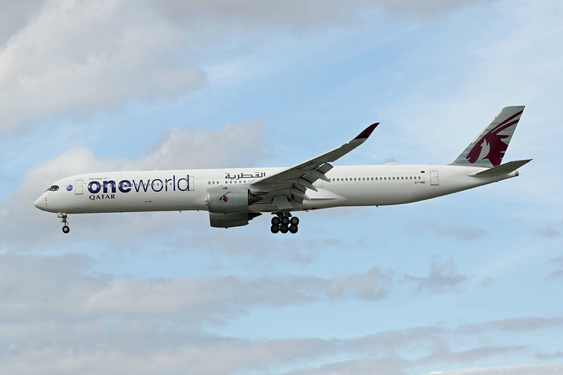 "A7-ANE Airbus A350-1041 c/n 141 Heathrow/EGLL/LHR 21-07-19 ""Oneworld"""