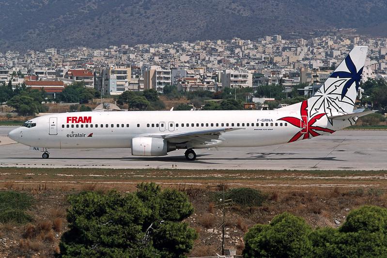 "F-GRNA Boeing 737-85F ""Euralair"" c/n 28823 Athens-Hellenikon/LGAT/ATH 19-09-00 ""FRAM"" (35mm slide)"