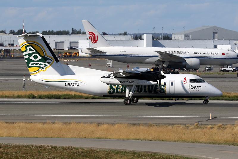 "N887EA de Havilland Canada DHC-8-106 ""Ravn Alaska"" c/n 351 Anchorage-International/PANC/ANC 06-08-19 ""Seawolves"""