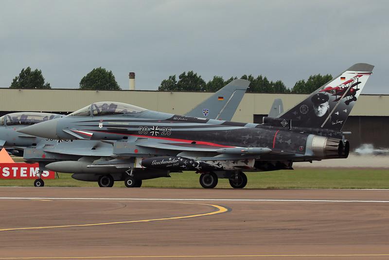 """30+25 British Aerospace EFA EF2000 """"German Air Force"""" c/n GS015 Fairford/EGVA/FFD 22-0719 """"Richthofen"""""""