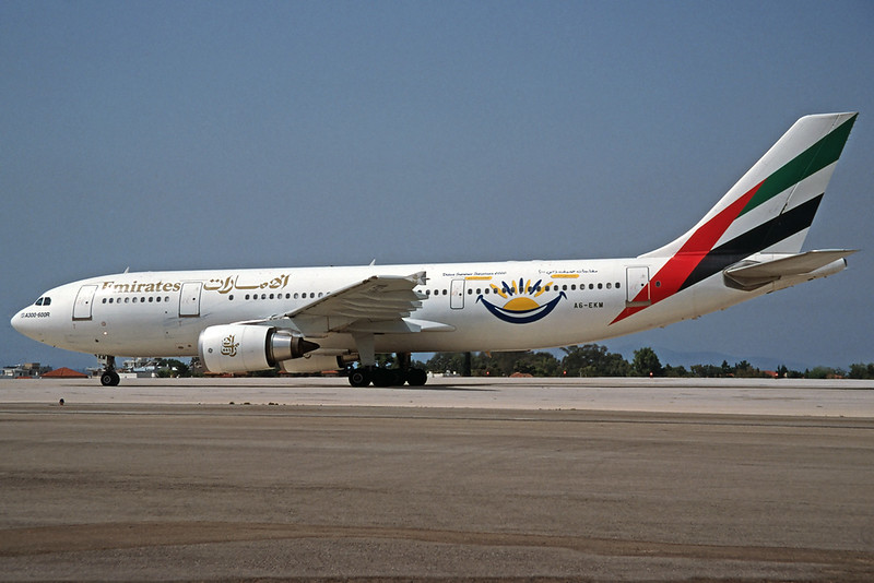 "A6-EKM Airbus A300B4-605R c/n 701 Athens-Hellenikon/LGAT/ATH 20-09-00 ""Dubai Summer Surprises 2000"" (35mm slide)"