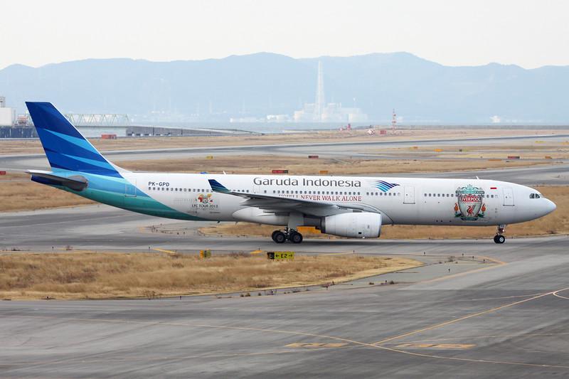 "PK-GPD Airbus A330-341 ""Garuda Indonesia"" c/n 144 Osaka-Kansai/RJBB/KIX 17-01-14 ""Liverpool FC"""