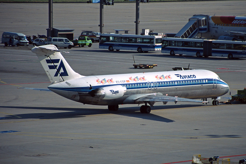 "EC-CGP Douglas DC-9-32 ""Aviaco"" c/n 47642 Frankfurt/EDDF/FRA 10-07-96 ""Vuelta 96"" (35mm slide)"