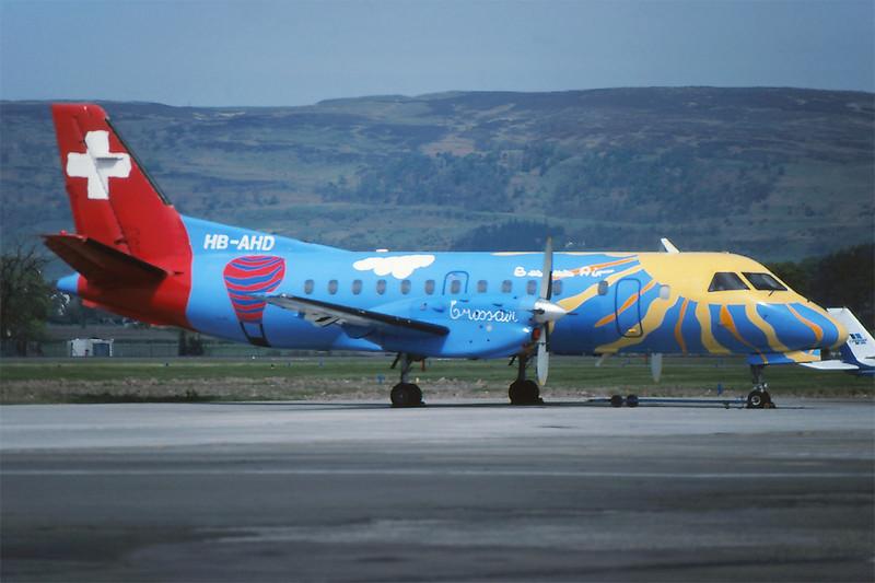 "HB-AHD SAAB SF.340A ""Crossair"" c/n 018 Glasgow/EGPF/GLA 05-05-95 (35mm slide)"
