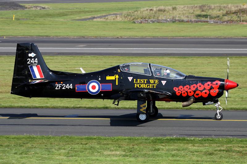 "ZF244 (244) Short Emb-312 T.1 Tucano ""Royal Air Force"" c/n 145 Prestwick/EGPK/PIK 06-09-14 ""Lest We Forget"" 2014 Display Markings"