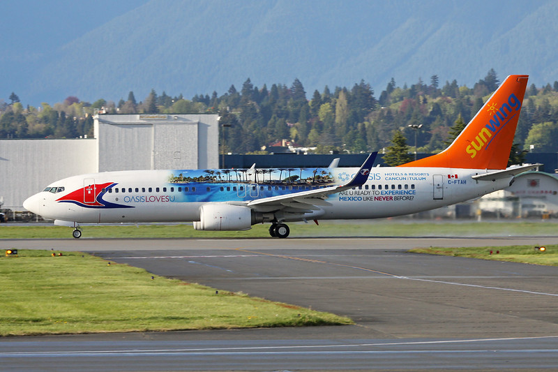 "C-FTAH Boeing 737-8Q8 ""Sunwing Airlines""  c/n 29351 Vancouver/CYVR/YVR 27-04-14 ""Oasis Cancun"""