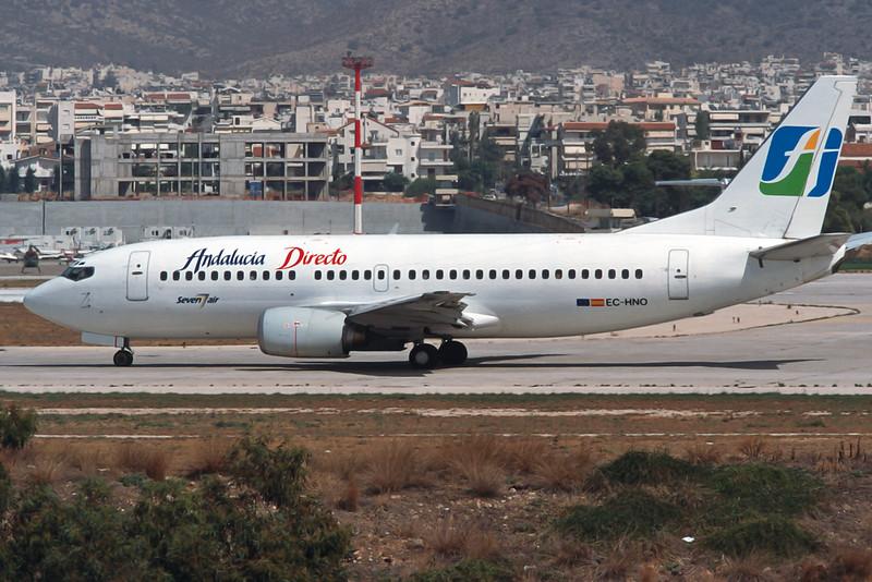 "EC-HNO Boeing 737-3K9 ""Seven Air"" c/n 24214 Athens-Hellenikon/LGAT/ATH 21-09-00 ""Andalucia Directo"" (35mm slide)"