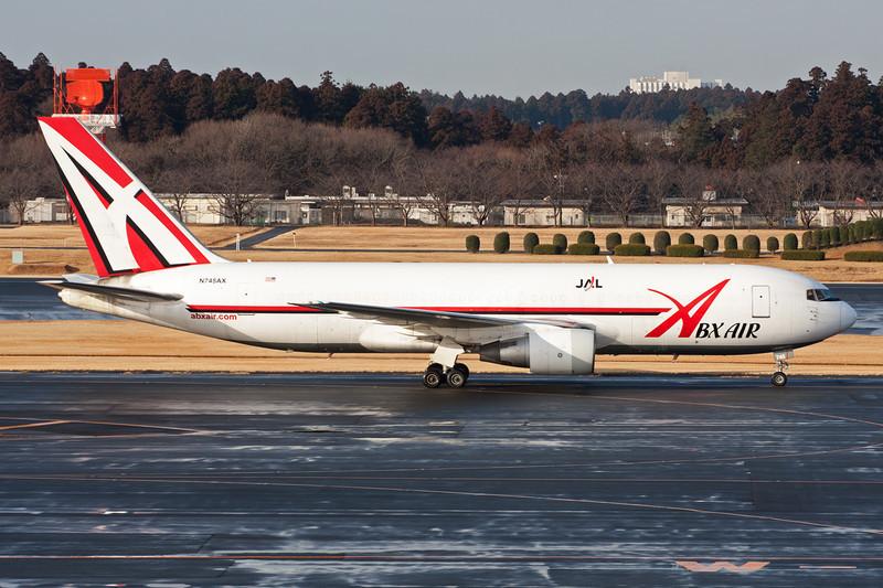 "N745AX Boeing 767-232F ""ABX Air"" c/n 22222 Tokyo-Narita/RJTT/NRT 24-02-11 ""JAL titles"""