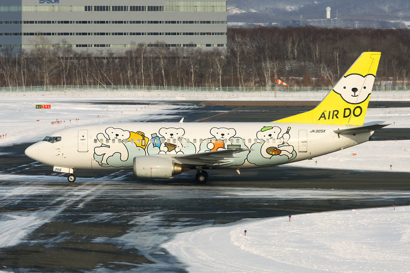 "JA305K Boeing 737-54K c/n 28993 Sapporo-New Chitose/RJCC/CTS 09-03-16 ""Bear Do"""