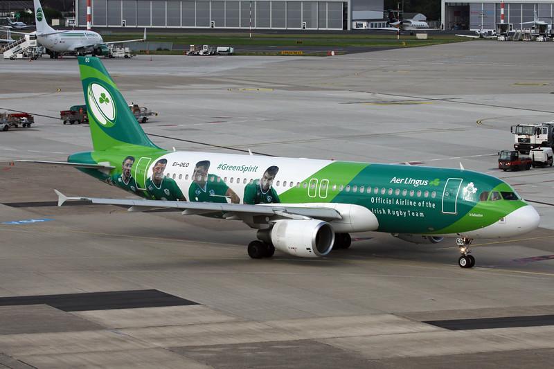 "EI-DEO Airbus A320-214 ""Aer Lingus"" c/n 2486 Dusseldorf/EDDL/DUS 11-07-16 ""Irish Rugby Team"""