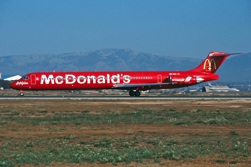 "HB-IUH Douglas MD-83 c/n 53150 Palma/LEPA/PMI 18-03-00 ""McDonald's"" (35mm slide)"