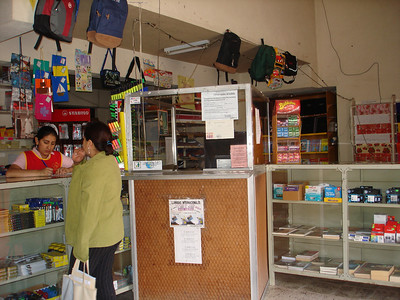 The cashier's checkout booth