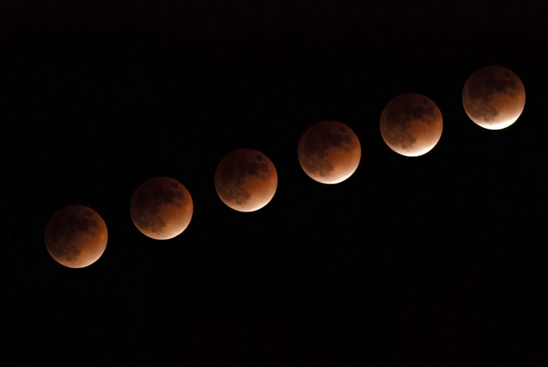 Composite photograph of the lunar eclipse on February 20, 2008. This series was taken as the moon was leaving the eclipse.