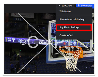 "Select the blue  ""Buy Photo"" and choose ""Buy Photo Package"" from the drop down menu"