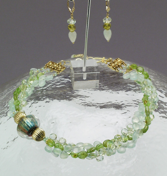 "#04908 <br>Art glass, topaz, peridot, new jade<br>and vermeil gold beads ,clasp and 4"" extender chain.<br>Alice Bailey Designs signature tag. <br> Necklace 16"" to 20""  Originally $450.00 Now $230.00 <br>Earrings with gold fill French clips Originally $55.00 Now $33.00<br>One-of-a-kind."