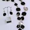 """#12907 <br>Lava rock and sterling silver.<br>Alice Bailey Designs signature tag.<br>Limited Edition. <br> Necklace 24"""" Originally $350.00  Now $185.00<br>Earrings with sterling silver French clips Originally $47.00 Now $25.00"""