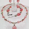 "#11711 <br>Strawberry quartz, pearls and pewter. <br> Silver plated clasp and 4"" extender chain.<br> Alice Bailey Designs signature tag.<br> 17"" to 21"" Limited Edition.<br>Necklace  Originally $75.00 Now $35.00<br>Earrings and bracelet not available."