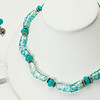 "#10619<br>Turquoise and white lamp glass tubes<br>With Amazonite.<br> Silver plated clasp and 4"" extender chain.<br>16"" to 20"" Limited Edition.<br>Necklace Originally $75.00 Now $39.00<br>Earrings Originally $37.00 Now $19.00"