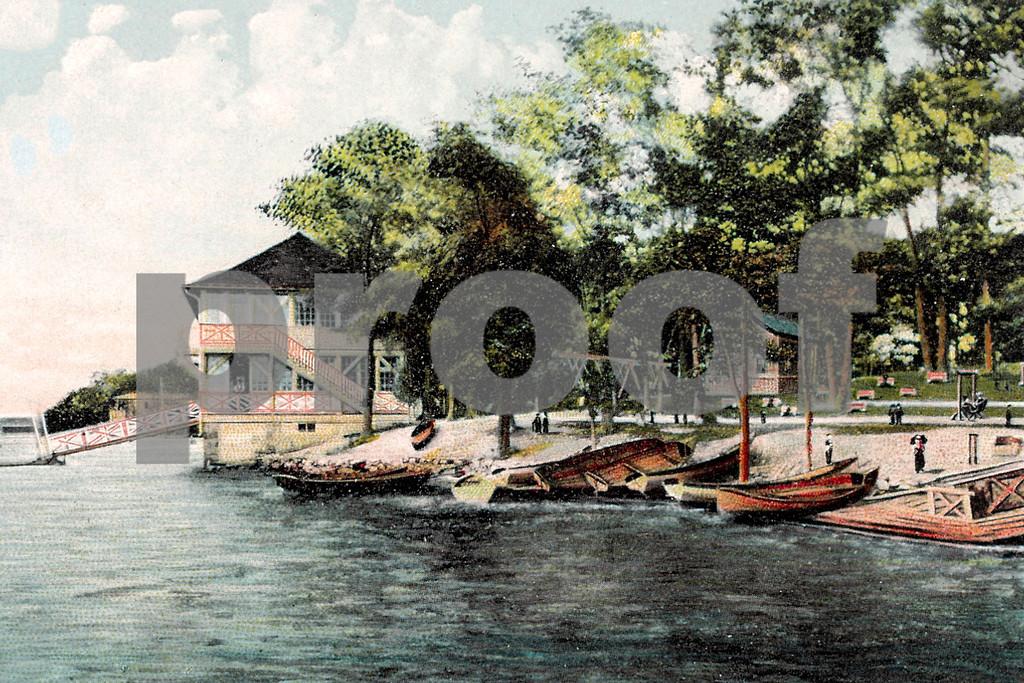 View of Park showing Boat House, Orange Lake, Newburgh, NY