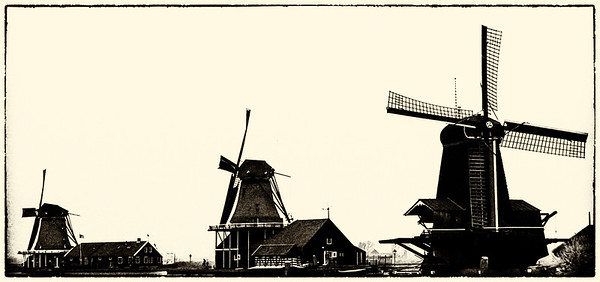 Three windmills in Holland