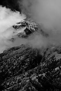 Vercors peak in the mist, FR
