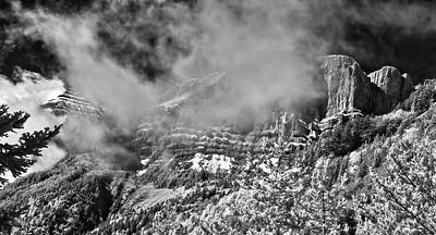 Vercors range in the mist