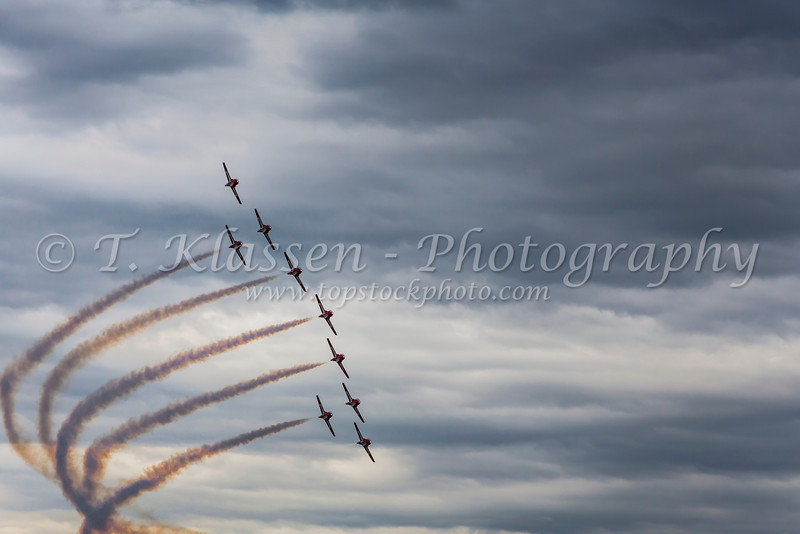 The Canadian Forces Snowbirds, air acrobatic team perform over the skies of Portage la Prairie, Manitoba, Canada.