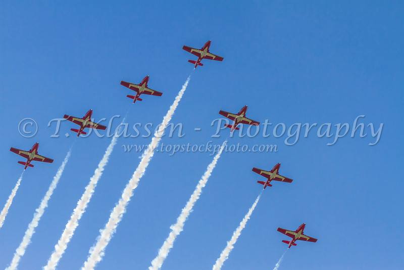 The Canadian Forces Snowbirds air acrobatic team in a performance over Roblin, Manitoba, Canada.