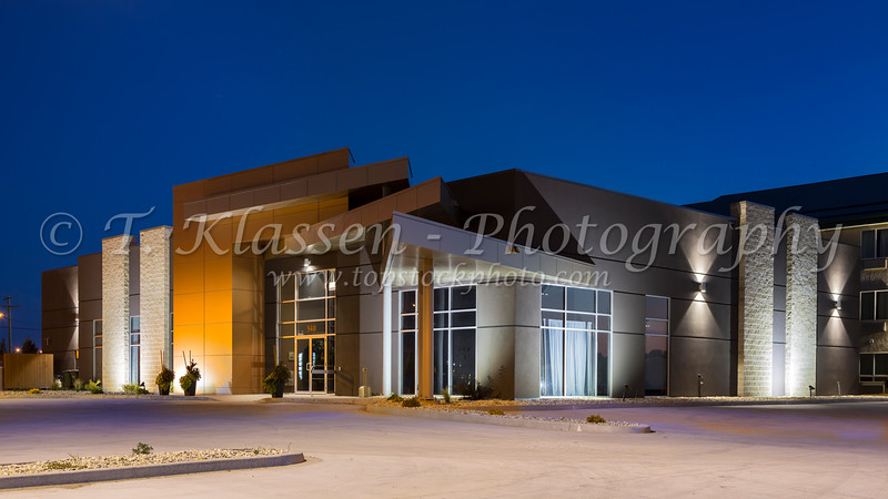 The Days Inn Conference Center exterior at night in Winkler, Manitoba, Canada.