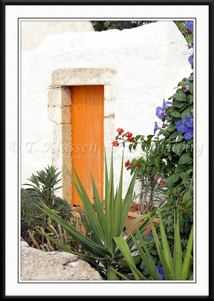 A modern door with semi tropical vegetation on the island of Patmos, Greece.
