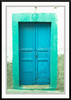 A colorful blue door on the island of Patmos, Greece.