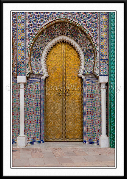 The arched entrance gates to the Royal Palace in Fes, Morocco.