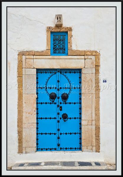A blue door in Sidi Bou Said, Tunisia.