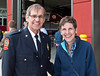 Esther Anne with assistant fire chief Henry Derksen at the new firehall in Winkler.