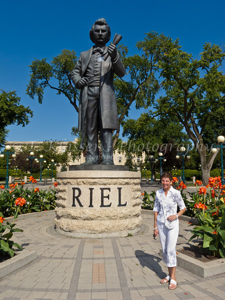 the Louis Riel statue near the Manitoba Legislative buildings in Winnipeg, Manitoba.