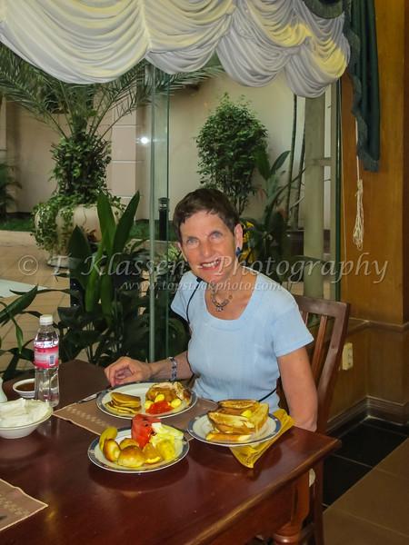 Breakfast at the Imperial Gardens Villa and Hotel in Phnom Penh, Cambodia, Asia.