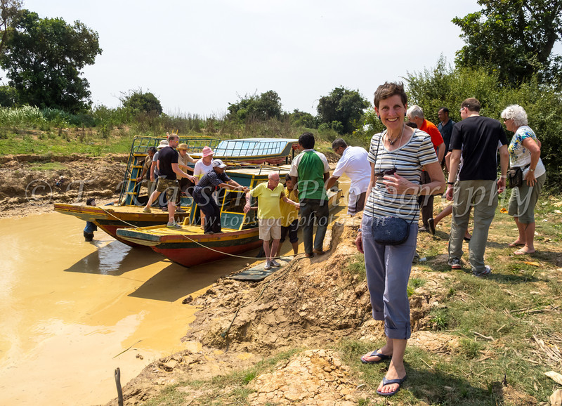 Our Gate 1 tour group and a boat excursion on the Tonle Sap or Great Lake in central Cambodia, Asia.