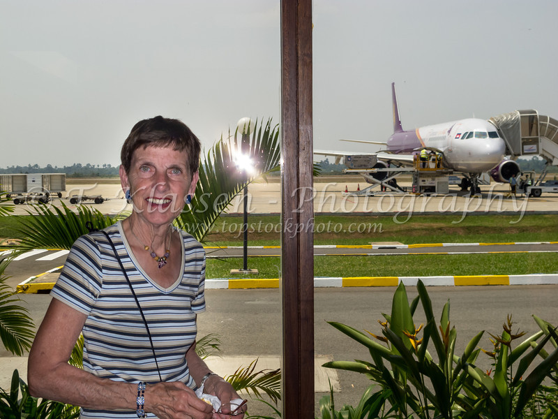 At the Siem Reap airport departing Cambodia, Asia.