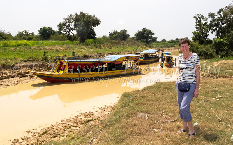 The riverboat dock to the floating villages in central Cambodia, Asia.