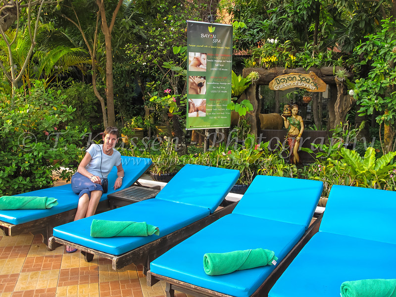 The pool area of the Somadevi Angkor Hotel and Spa in Siem Reap, Cambodia, Asia.