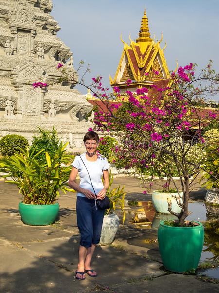 Stuppas and shrines of the Silver Pagoda in Phnom Penh, Cambodia, Asia.