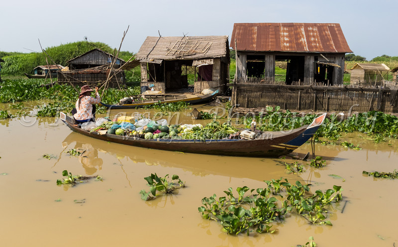 The floating village on Tonie Sap or Great Lake in central Cambodia, Asia.