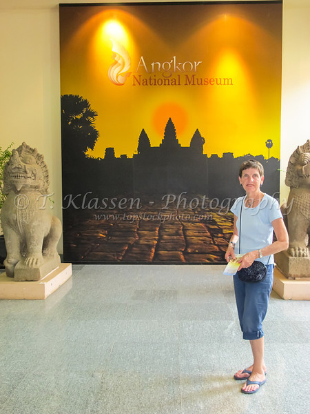 The entrance hallway to the Angkor National Museum near Siem Reap, Cambodia, Asia.