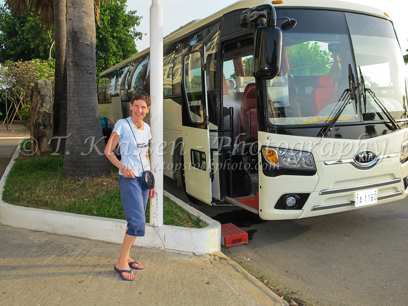 Waiting for the tour bus at the hotel in Phnom Penh, Cambodia, Asia.