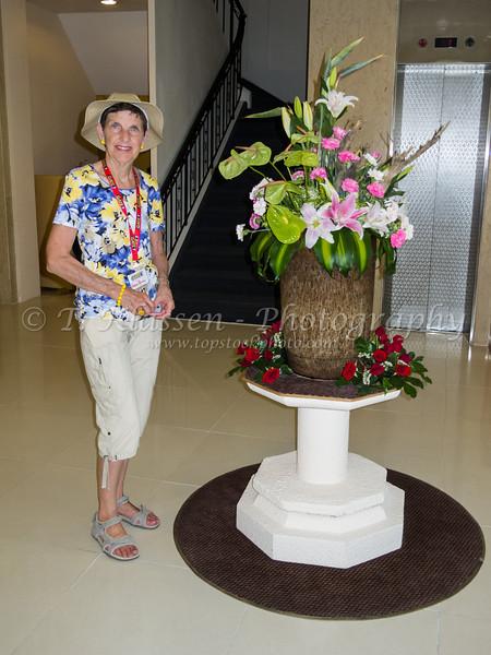 A flower centerpiece at the Oscar Saigon Hotel in Saigon, Vietnam, Asia.