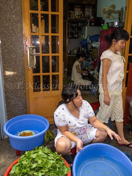 Street scene in old town Ho Chi Minh City walking along Bui Vien alley in Saigon, Vietnam, Asia.
