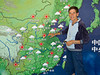 The weather forcast for China at the TV studios in Beijing, China.